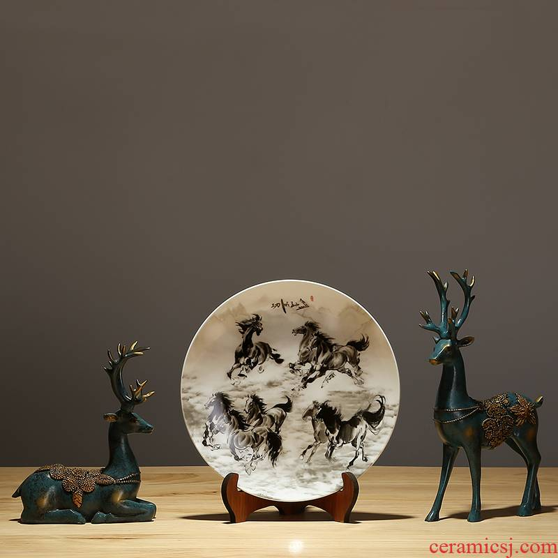 New Chinese style household jingdezhen chinaware plate sitting room sat dish hang dish plate success ornaments furnishing articles