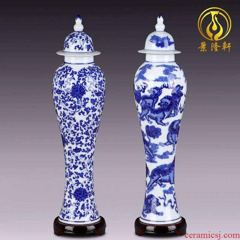 Jingdezhen blue and white porcelain vases, I and contracted decorative vase decoration ceramics handicraft furnishing articles in the living room