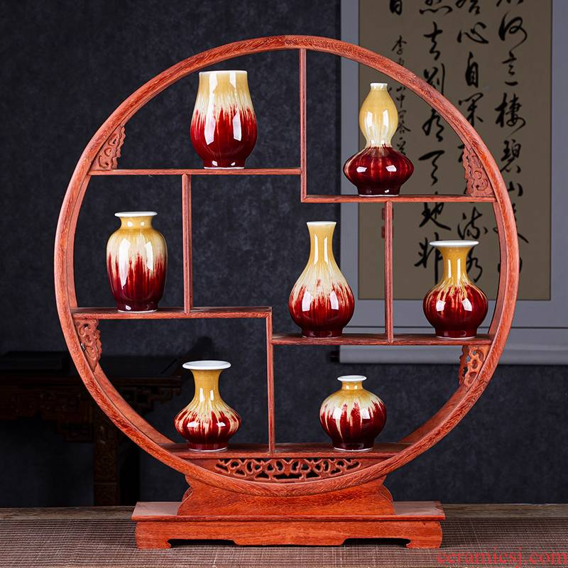 Jingdezhen ceramics up with ruby red mini creative small vase Chinese style household bookshelf table flower arranging furnishing articles