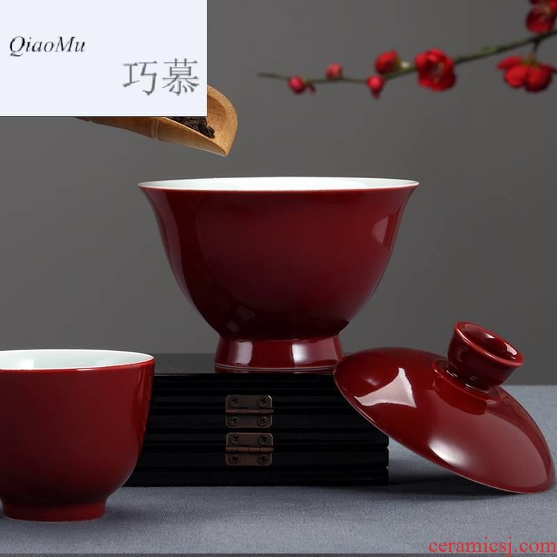 Qiao mu Taiwan FengZiJi red ceramic tureen tea is tea cups three bowl bowl cover the home of kung fu