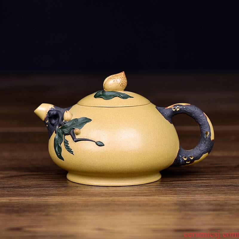 Shadow at yixing undressed ore section of mud by hand as it kung fu tea set office teapot peach flower pot, YS