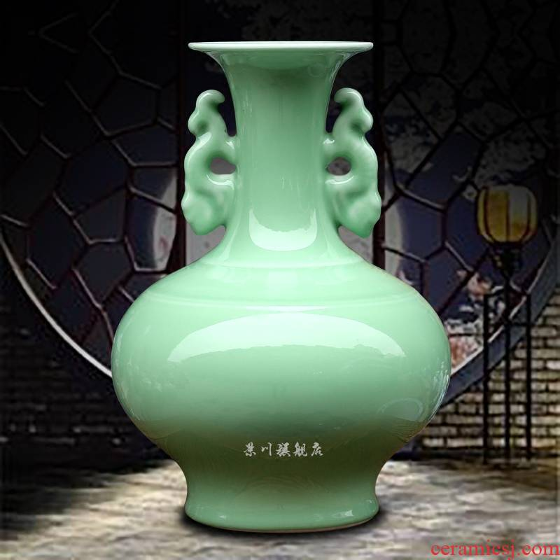 Jingdezhen ceramics green glaze ears to admire the floret bottle of bottle of archaize mesa receptacle household adornment is placed in the living room