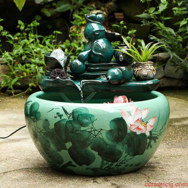 Art spirit of jingdezhen ceramic aquarium circulating water - oxygen filter goldfish goldfish bowl sitting room the tortoise cylinder furnishing articles