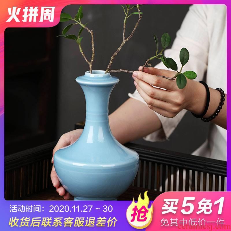 Jingdezhen ceramics powder blue glaze vase flower arranging small creative living room of Chinese style household adornment desktop furnishing articles