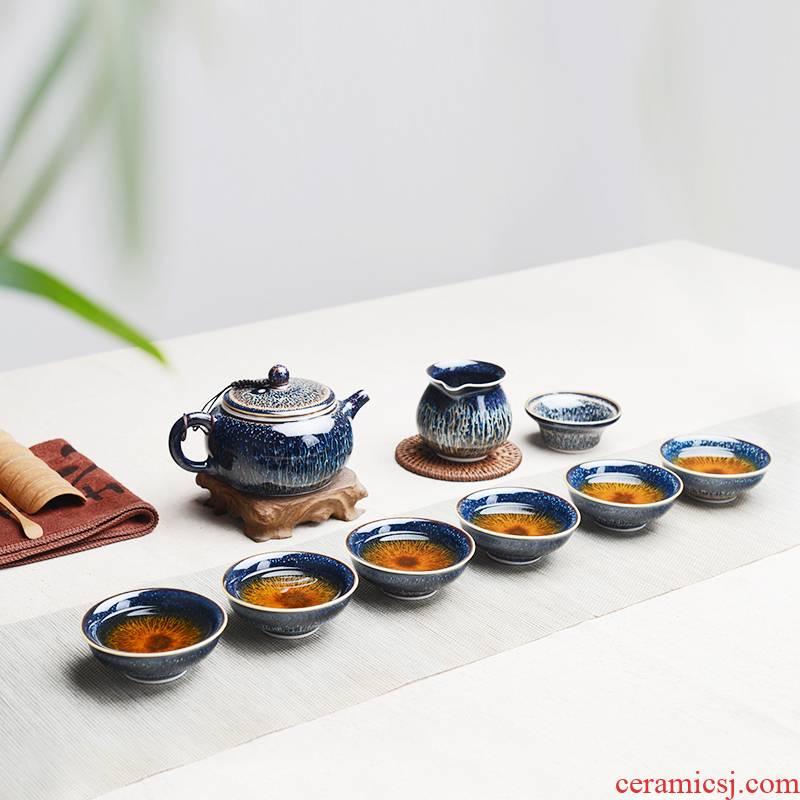 Tea set manual temmoku glaze up jingdezhen ceramics kung fu Tea cups of a complete set of suit the teapot