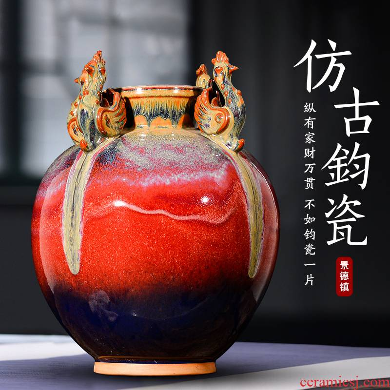 Jingdezhen ceramics archaize four feng jun porcelain statute of variable vase sitting room of Chinese style household adornment handicraft furnishing articles