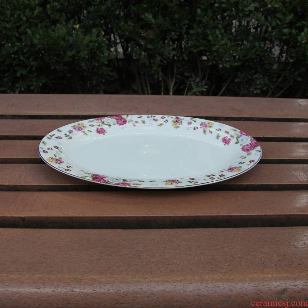 """Qiao mu tangshan ipads porcelain two - tonne 12 """"moonlight fish plate elliptical plate steamed fish dish cold dish dish cooking plate of up phnom penh"""