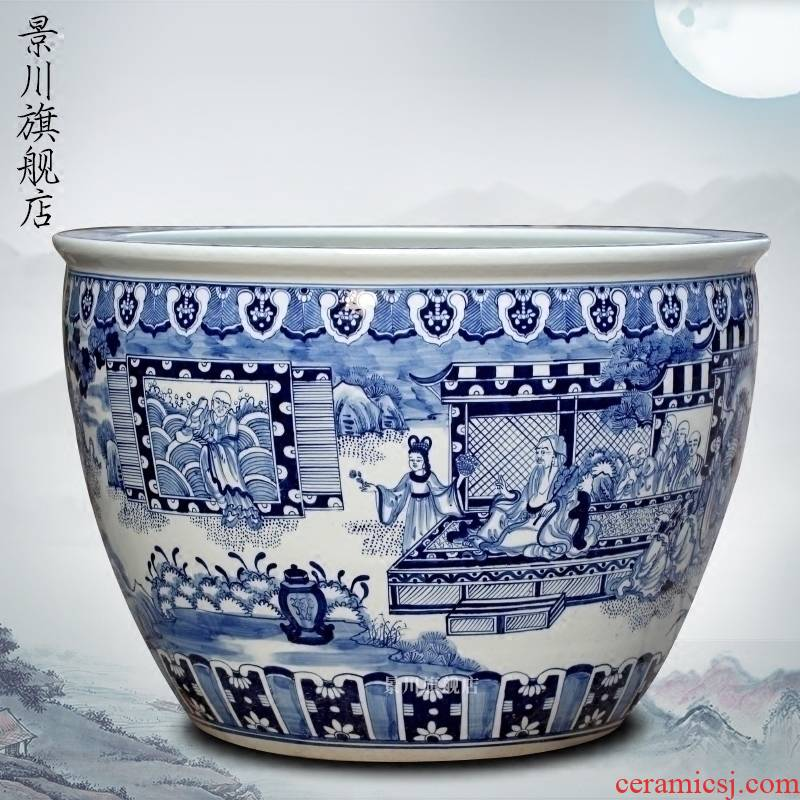 Hand - drawn characters archaize big fish tank of blue and white porcelain jingdezhen chinaware lotus sleep bowl lotus tortoise calligraphy and painting cylinder
