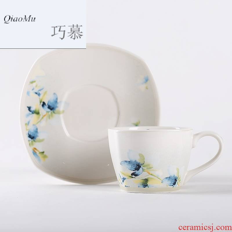 Qiao mu creative ceramic coffee cup suit Chinese style household afternoon tea tea set contracted cup of red tea cups