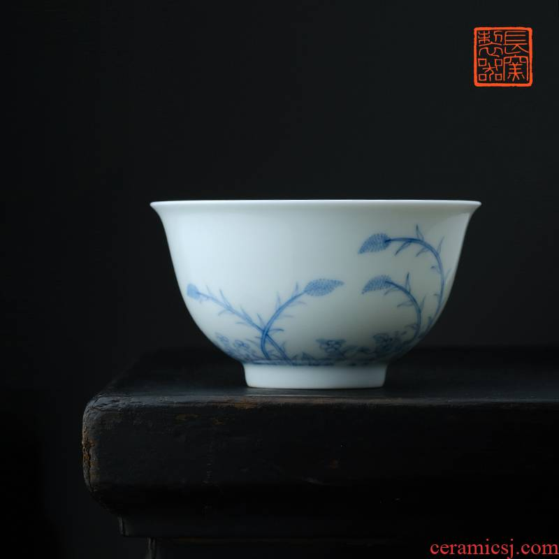 Offered home - cooked long up in jingdezhen blue and white by patterns cup making those yongzheng light tracing manual master cup of tea
