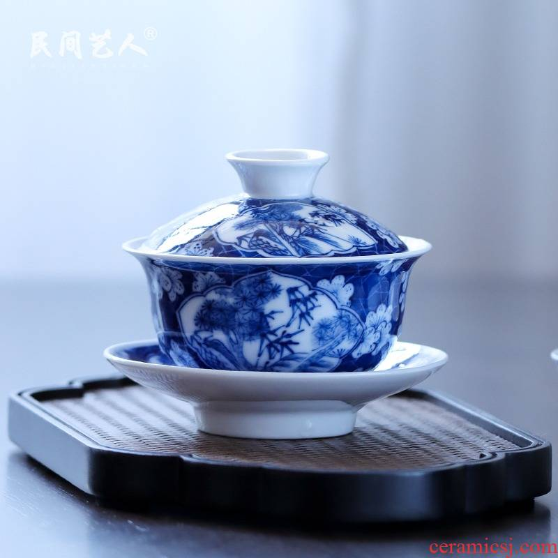 The Blue hand - made of ice may open a window tureen jingdezhen ceramic three cups of kung fu tea set is not a hot tea cutting mechanism