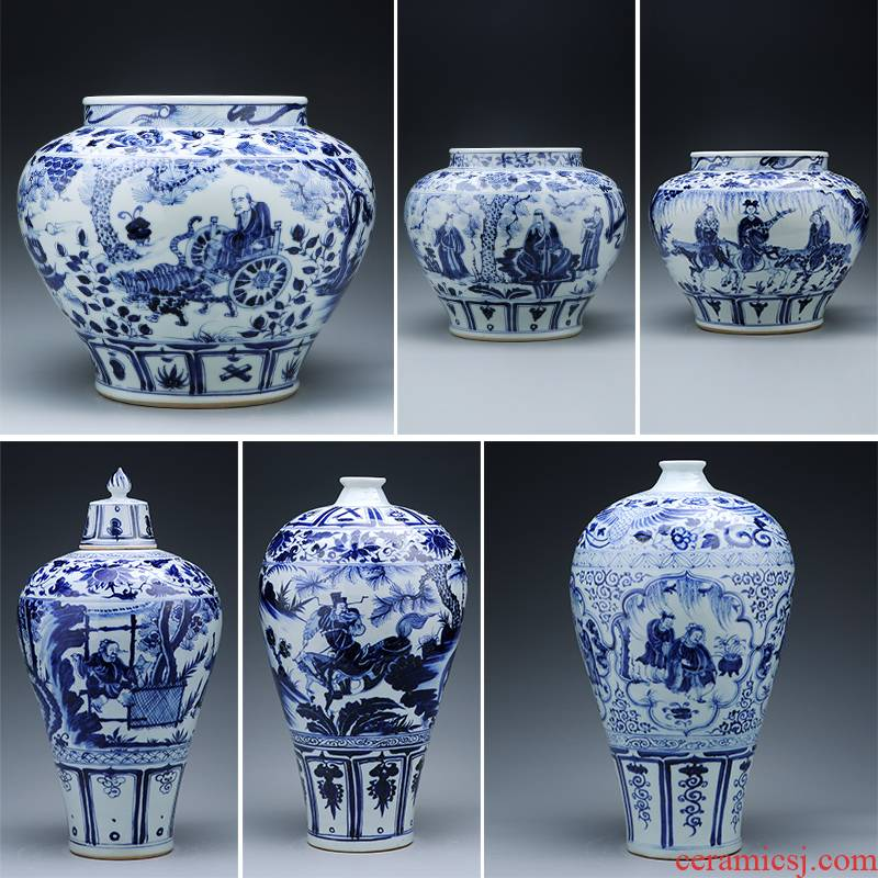 Jingdezhen ceramics antique hand - made yuan blue and white guiguzi down pot antique vase household adornment restoring ancient ways