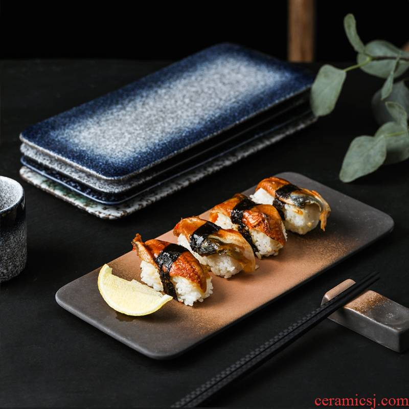 Japanese ceramics creative long rectangle sashimi dish dish sushi long plate in the wine house, tableware