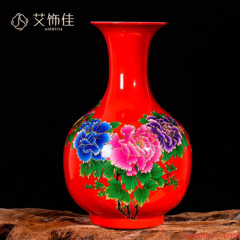 Jingdezhen ceramic vase red new Chinese wine TV ark, blooming flowers, flower arrangement, the sitting room porch decoration