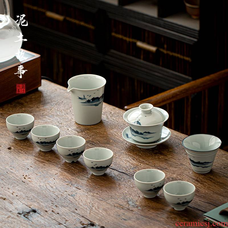 Jingdezhen antique hand - made kung fu tea set suit household ceramic tureen tea cups contracted sitting room of a complete set of gift boxes