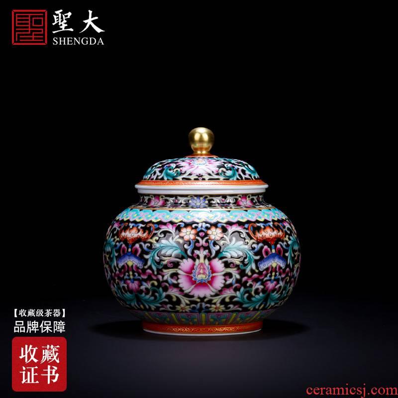St large ceramic POTS storage hand - made black enamel celebrates the prosperous caddy fixings tank fittings of jingdezhen tea service