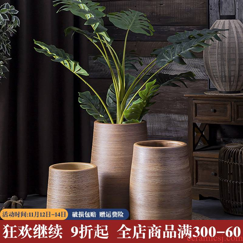 Is suing decoration flower arranging furnishing articles of large ceramic vase gallons Nordic green plant potted flower bed of large diameter flowerpot
