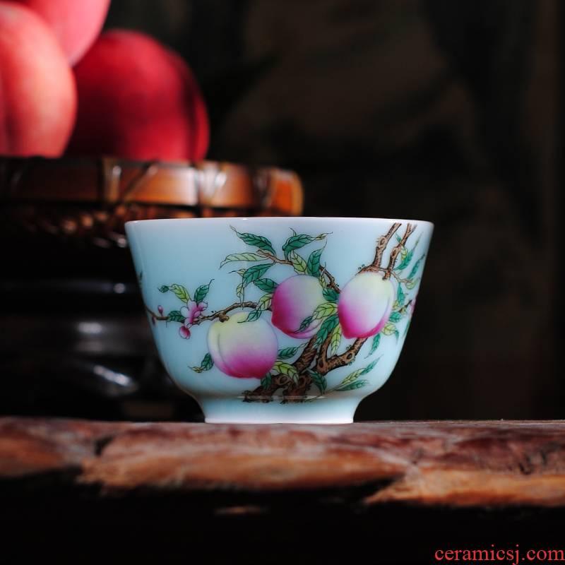 Owl up jingdezhen tea green glaze antique porcelain enamel see colour peach tea master cup single cup cup drawing