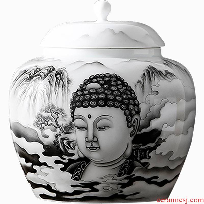 Shadow enjoy ancient jun porcelain hand - made color ink large zen tea caddy fixings seal pot small tea urn storage tank