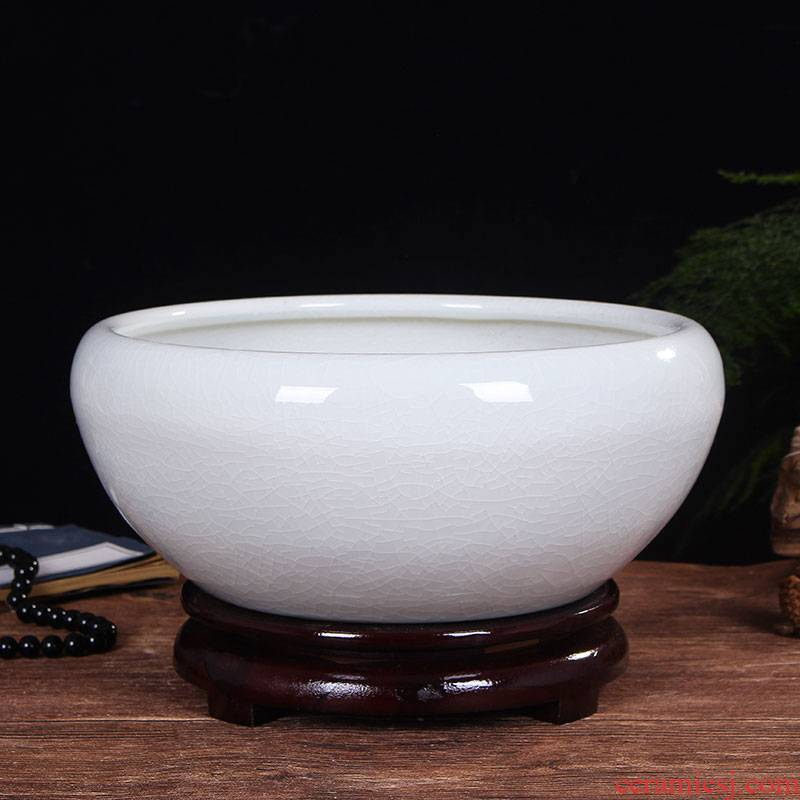 Jingdezhen ceramic aquarium desktop goldfish bowl sitting room large water lily bowl lotus basin tortoise cylinder refers to porcelain basin