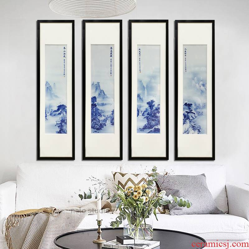 Hand - made ceramic porcelain plate painting landscapes of chun xiaqiu winter home sitting room sofa background wall hangs a picture of the blue and white porcelain decoration