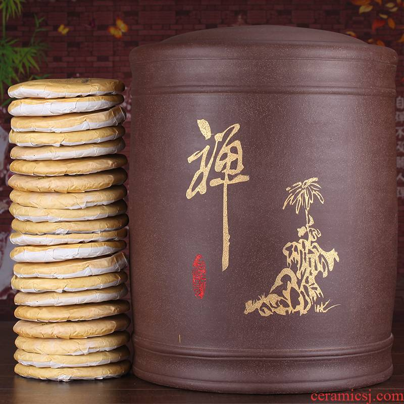 Shadow at yixing purple sand tea pot pu - erh tea cake tea urn storage tank barrel JSBT extra large jar