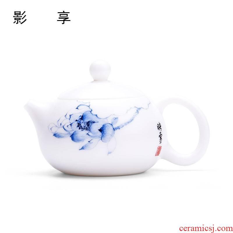 Shadow at dehua white porcelain tea kungfu tea set suit household ceramics suet jade porcelain teapot tea accessories HF