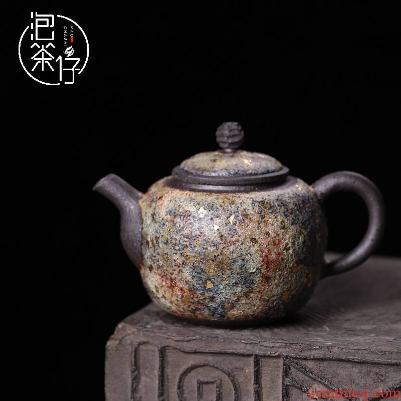 Lava teapot museum in same checking retro kunfu tea, small single pot teapot ceramic tea set