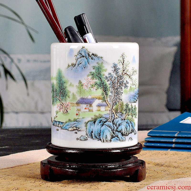 Jingdezhen porcelain brush pot furnishing articles receive head 'day gift pen container creative fashion office stationery