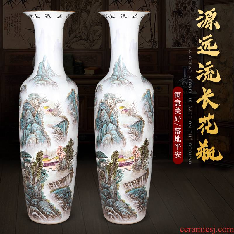 Jingdezhen ceramics hand - made pastel of large vases, new Chinese style household adornment sitting room TV ark, furnishing articles