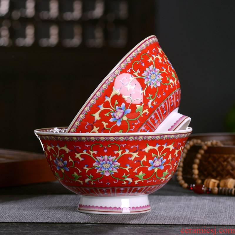 Jingdezhen ceramic tableware bowl of red of Chinese style household celebration gifts customized archaize tall rice porridge rainbow such as bowl bowl back