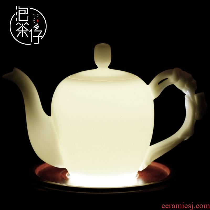 Dehua white porcelain biscuit firing suet jade teapot single pot of pure manual single kung fu tea set large beauty shoulder make tea