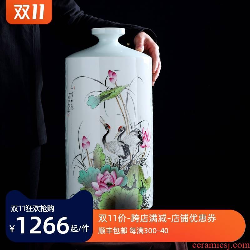 Jingdezhen vase furnishing articles flower arranging light sitting room key-2 luxury decoration pastel hand - made mesa vase manual art ceramic bottle