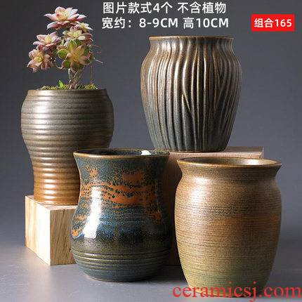 Old running the fleshy coarse pottery flowerpot ceramics creative retro mage Korean indoor green, the plants hand - made flower pot in the mail