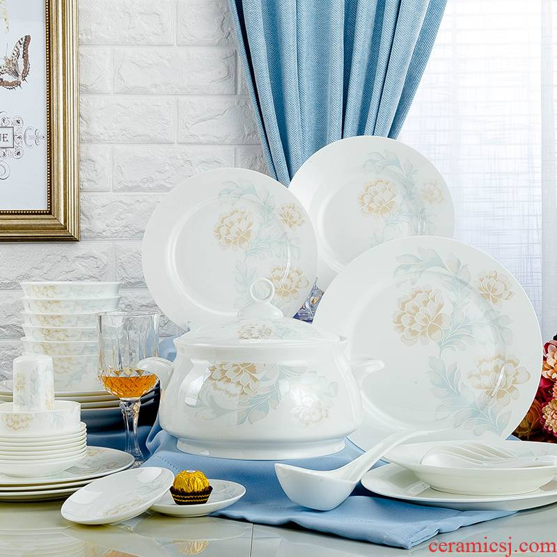 Jingdezhen cutlery set dishes home Chinese wind creative Chinese ceramic 10 people contracted ipads porcelain tableware gifts