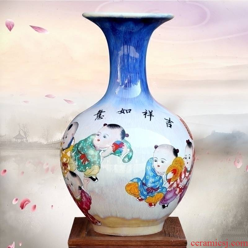 Jingdezhen ceramics up jixiangruyi lad floret bottle home sitting room study office furnishing articles rich ancient frame