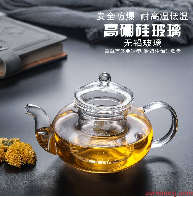 Transparent heat - resistant glass filter regimen teapot + the electric TaoLu boiled tea, the tea cups with the kung fu tea set