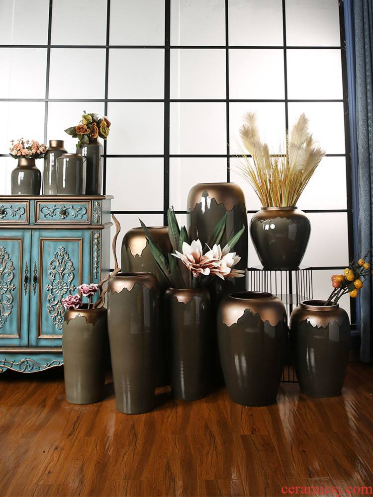 I and contracted jingdezhen ceramics of large vases, flower arranging example room hotel landscape pottery decoration decoration