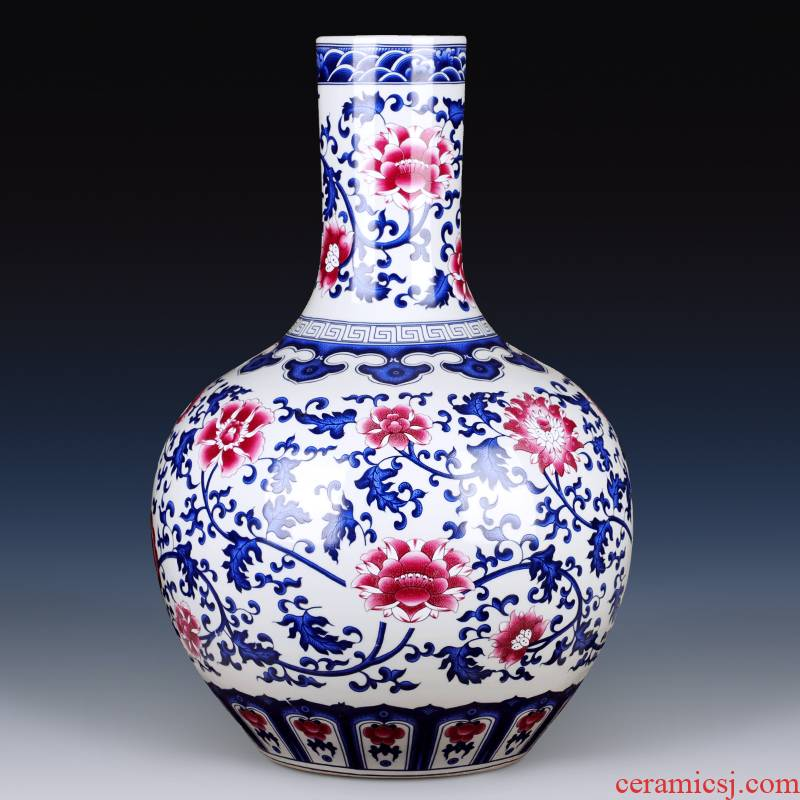 Jingdezhen ceramic archaize floor large vases, flower arranging the new Chinese rich ancient frame decorative porcelain furnishing articles large living room