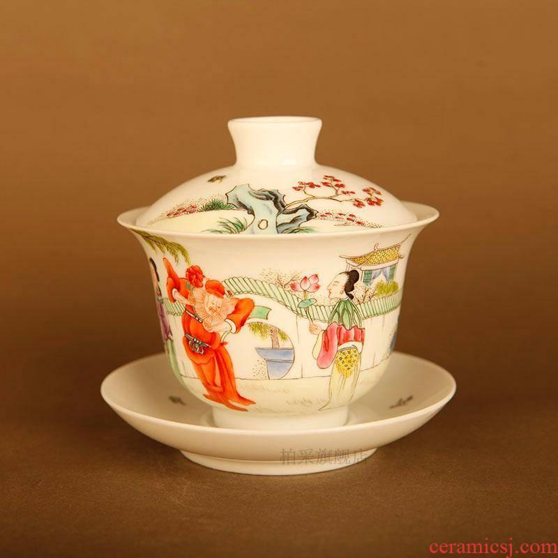 Submerged wood imperial tea garden official authentic counters jingdezhen porcelain pure checking quality tea powder enamel flora tureen