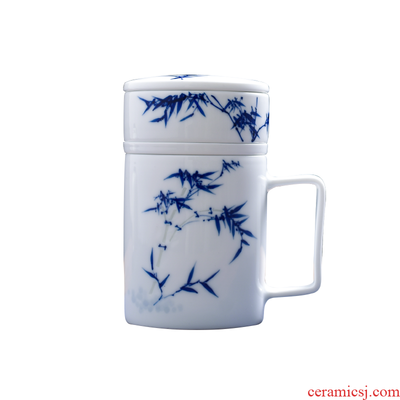 Office cup with handle with cover of jingdezhen large - capacity glass household ceramic separation and exquisite tea tea cup