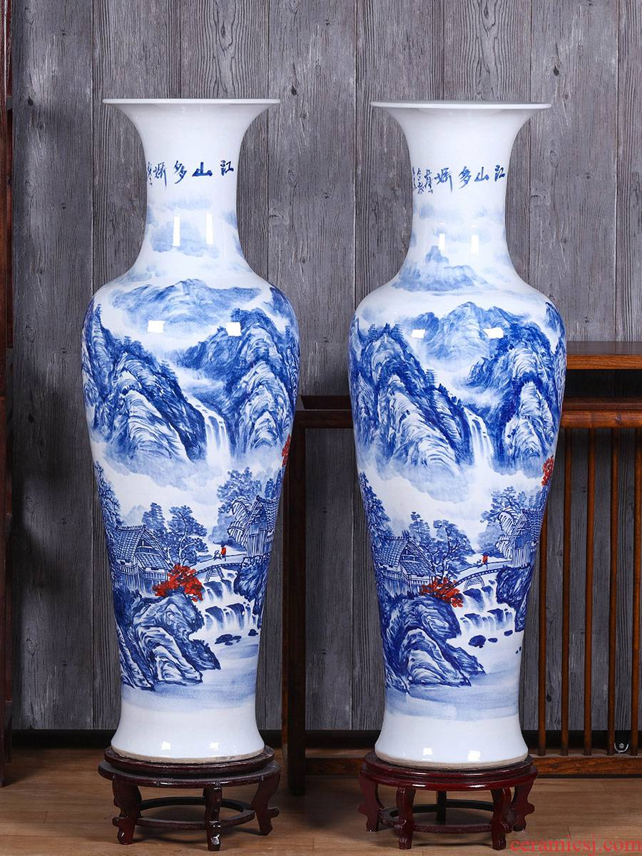Jingdezhen ceramics of large blue and white porcelain vase sitting room open TV ark adornment of Chinese style household furnishing articles
