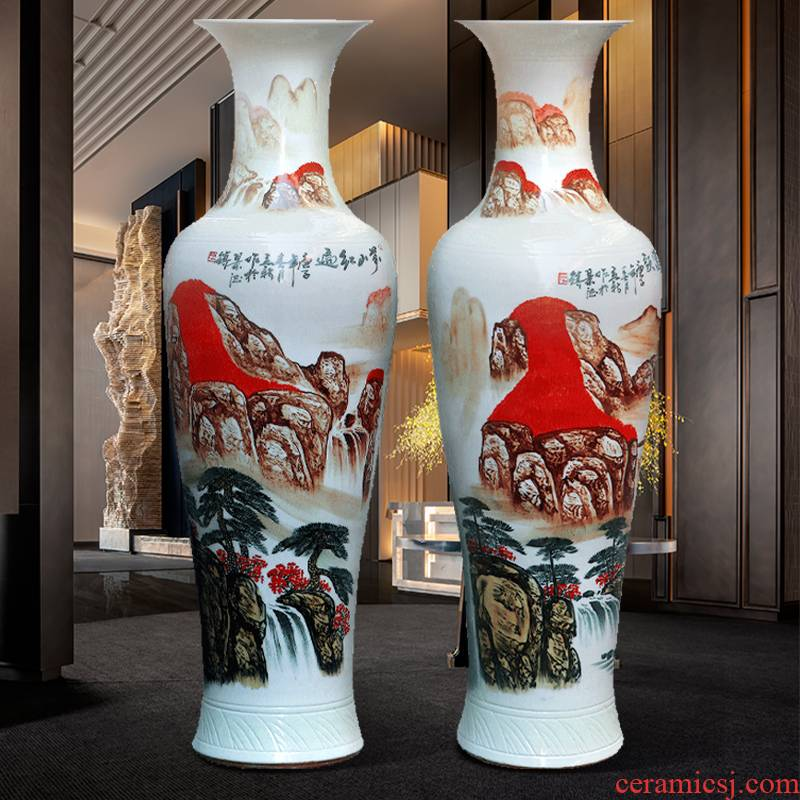 Jingdezhen ceramic hand - made much luck landing a big vase Chinese sitting room adornment is placed large opening gifts