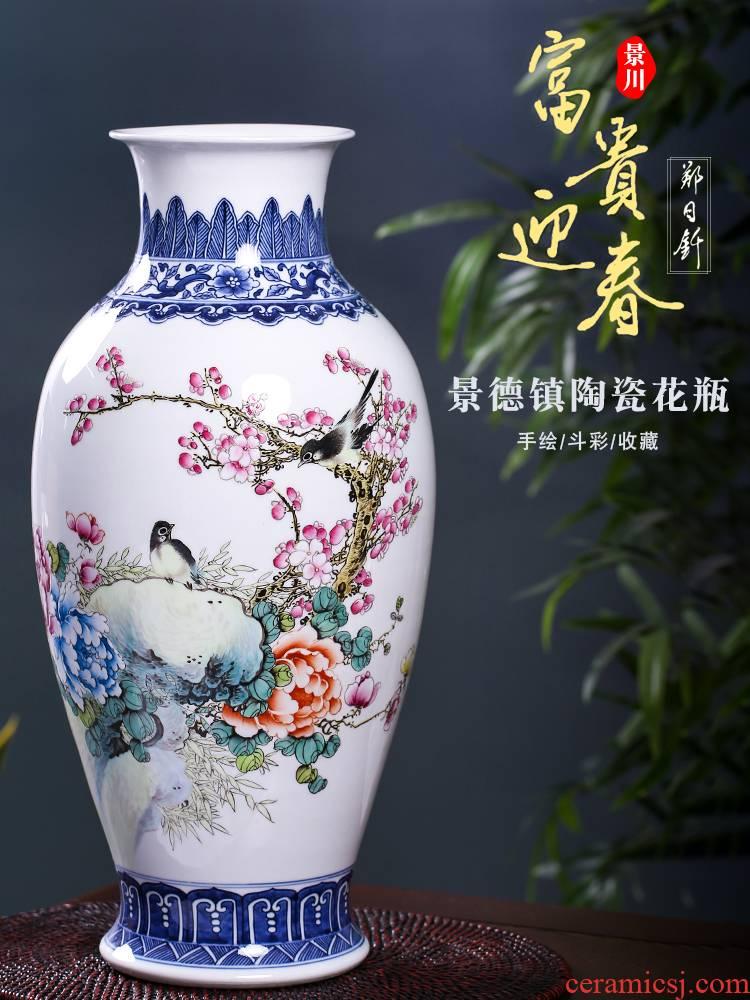 Jingdezhen ceramic masters Zheng Ri qian hand - made prosperous winter jasmine flower vase home sitting room of Chinese style mesa furnishing articles