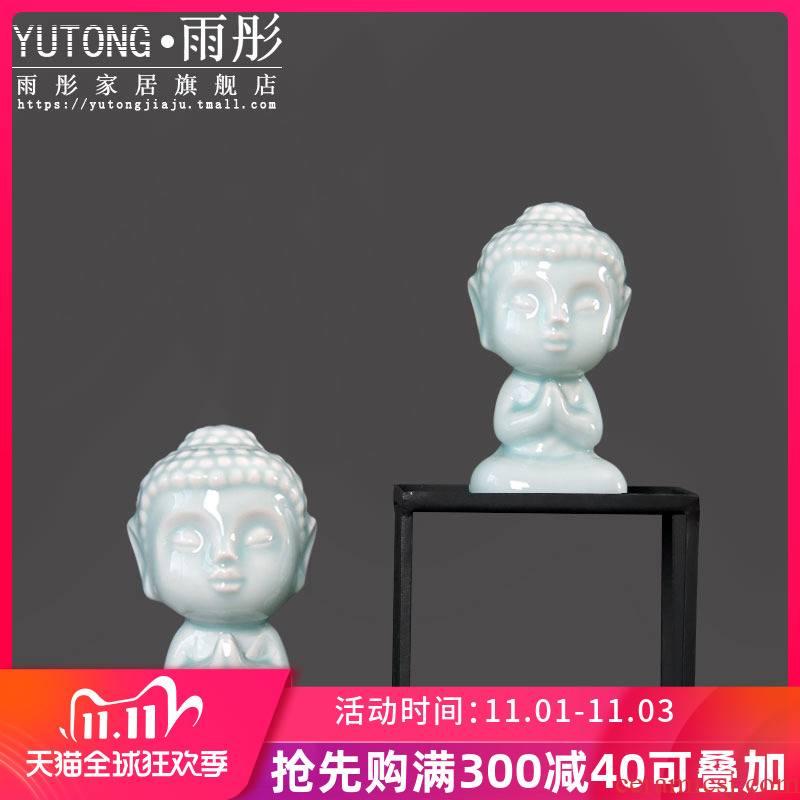 Celadon ceramic zen zen furnishing articles, the young monk express boutique zen the boy lovely Buddha study home