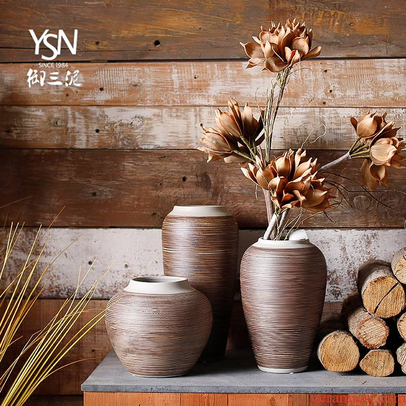 Mesa of coarse some ceramic pot dry vase decoration furnishing articles sitting room three new Chinese style restoring ancient ways is contracted and I ceramic mud