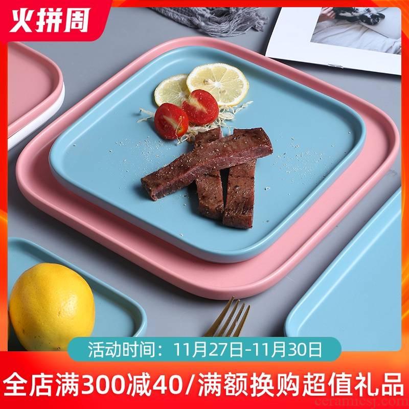 Nordic ceramic quadrate dish dish dish home plate beefsteak jingdezhen disc dessert salad plate plate tableware