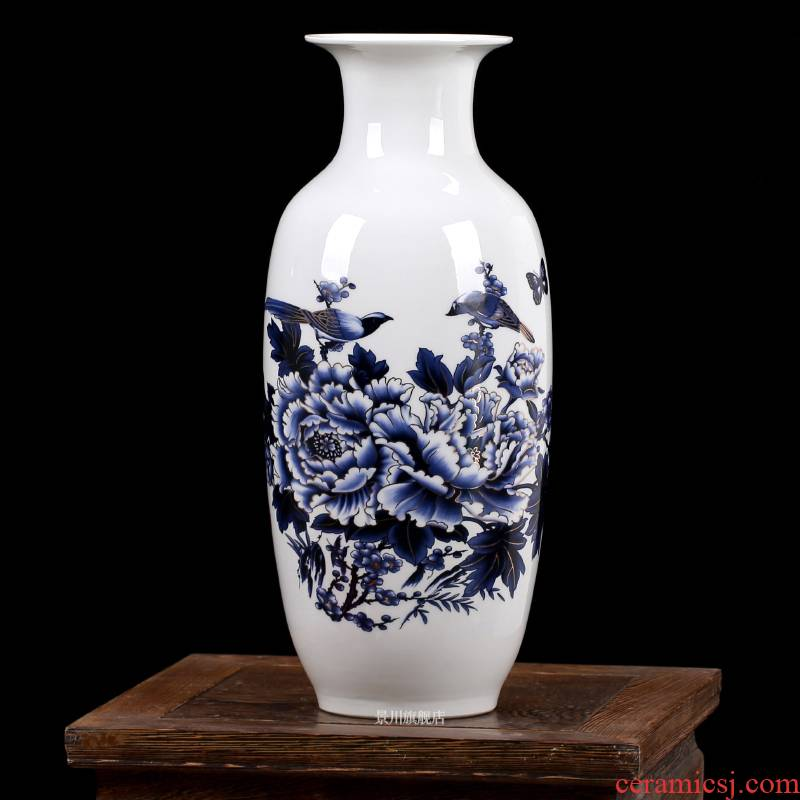 Jingdezhen ceramics blue gold, blue and white porcelain vase peony new home decoration porcelain mesa furnishing articles