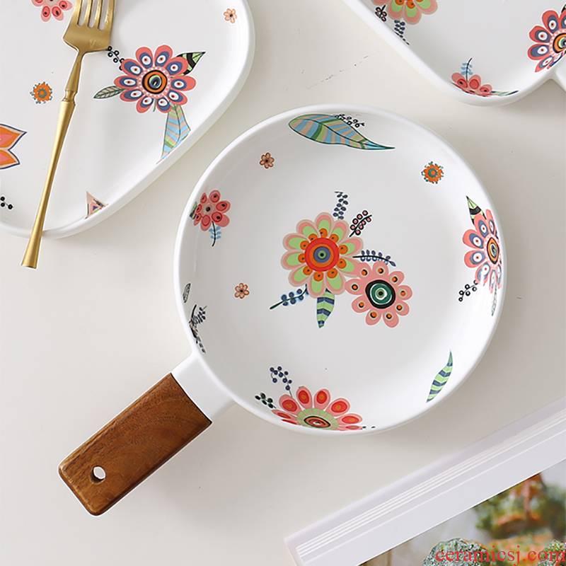 Jingdezhen ceramic disc beefsteak snack plate 0 secret garden handle the creative fruit dishes series