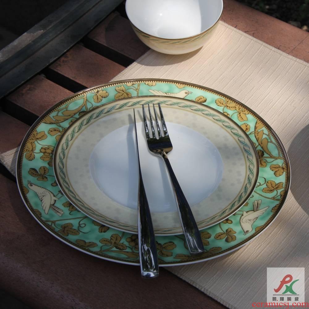 "Qiao mu tangshan ipads China green language of England 11 ""flat beefsteak ceramic tableware up phnom penh dish plate of the main plate"